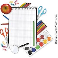 school., costas, materiais, nota