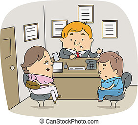 School Counselor - Illustration of a School Counselor at...