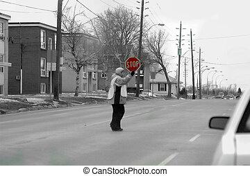 crossing - school crossing guard.
