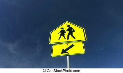 School Crossing Sign Time Lapse