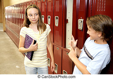 School Crush - A humorous photo of a school girl reacting to...