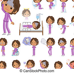 school dark skin girl purple jersey_sickness - A set of...