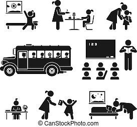 School days - Children go to school. Pictogram icon set