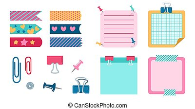 School design elements for notebook diary vector