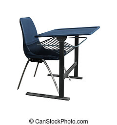3D digital render of a school desk and a chair isolated on white background