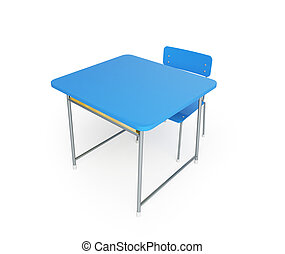 school desk  3d Illustrations on a white background