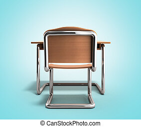 school desk and chair 3d render on gradient background