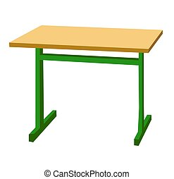 School desk. Color vector flat illustration isolated on white
