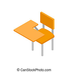 School desk icon, isometric 3d style