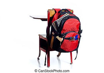 School Desk with Backpack
