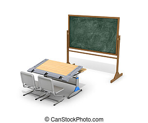 School desk with board on a white background. 3D illustration.