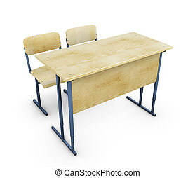 School desk with two chairs