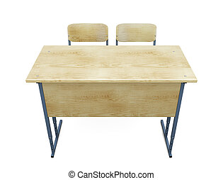 School desk with two chairs on a white.