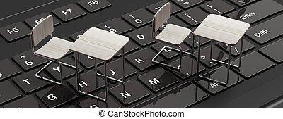 School desks on a black laptop computer keyboard, 3d illustration..