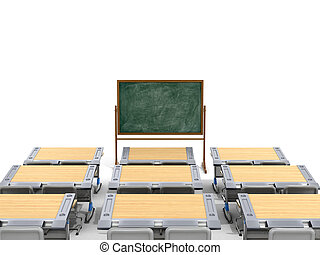 School desks with board on a white background. 3D illustration.