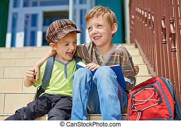 school., deux, notre, premier jour, kids., heureux