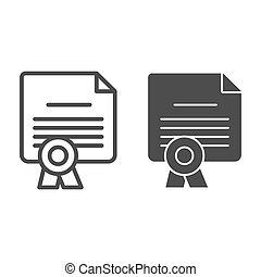 School diploma line and solid icon. Certificate with seal ...