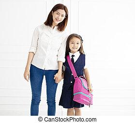 school, dochter, hand, gereed, vasthouden, moeder, gaan