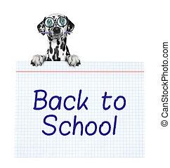 school, dog, papier, pupil, vasthouden, stuk