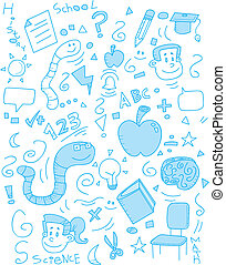 School Doodle - A cartoon doodle with a school theme.