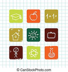 school, &, doodle, iconen, vrijstaand, verzameling, o, (, witte , opleiding