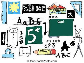 School doodle object texture