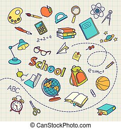 School doodle on notebook page vector background