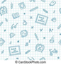 School doodle pattern on a notebook paper