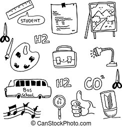 School doodles collection vector