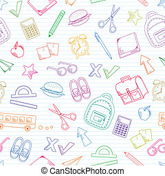 school doodles - seamless pattern of school related doodles