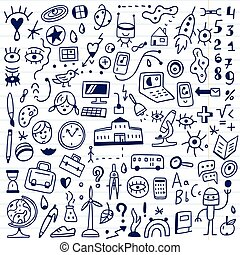 school - doodles set