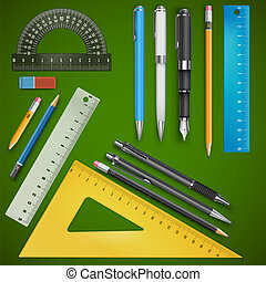 School drawing supplies, vector illustration