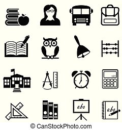 School, education and learning web icon set