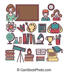 School education and lessons study items and sicence...