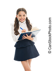 School education basics. Coordinating process. Focused on education. KId girl student likes to study. Study in secondary school. Private lesson. Adorable child schoolgirl. Formal education concept