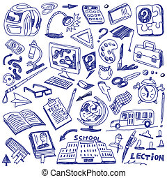 School education - doodles - School education - set icons in...
