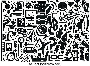 School , education - doodles set