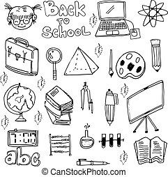 School education doodles set vector art