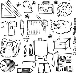 School education doodles suplies bag paper board