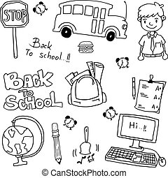 School education doodles vector art