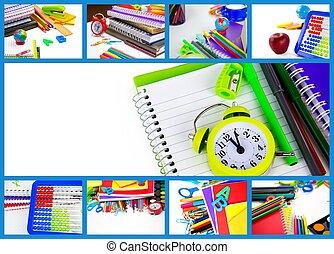 School Education Equipment Tools Collage
