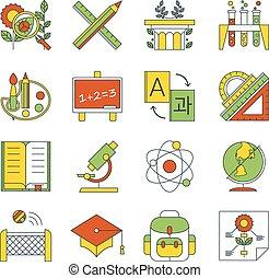 School, education icons.