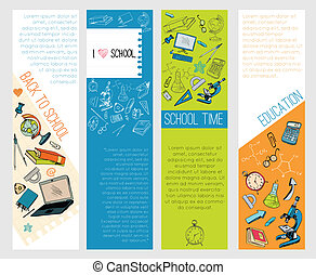 School education icons infographic banners - Four...