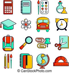School education icons set, cartoon style - School education...