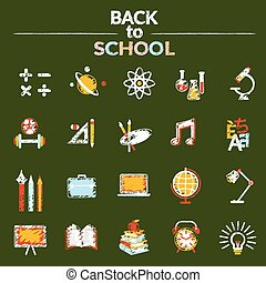 School, Education, Icons Set - Education, Learning and Study...