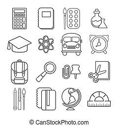 School education icons set, outline style - School education...