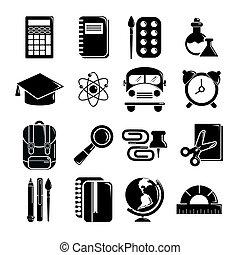 School education icons set, simple style - School education...