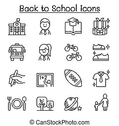 School, education, learning, back to school icon set in thin line style