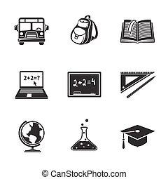 School education monochrome icons set with - globe, notebook, blackboard, backpack, text book, graduation cap, school bus, science bulb.