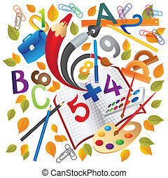 School education objects - Illustration of school education...